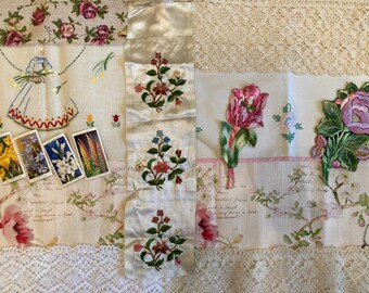 Journal Embroidery Flowers Trim Inspiration kit, Slow stitch, Vintage fabric scraps pack, junk Journals kit, Antique silk embroidery