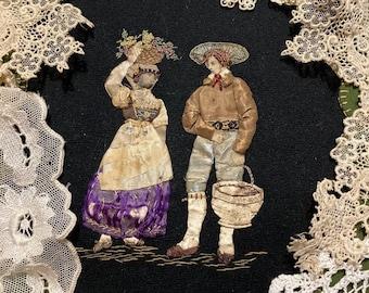 Journal kit Antique Silk Floral embroidered Fabric Victorian Butterflies Chromo Scraps