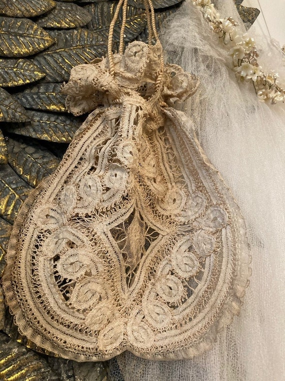 Delicate Antique Handmade Bobbin Tape lace Boudoir
