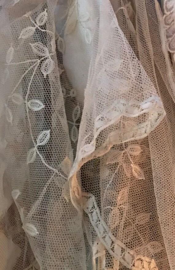 Antique Delicate Lace shawl/ wedding dress cape,