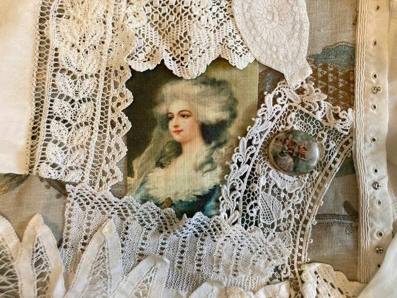 Antique French Lace Journal Inspiration kit Portrait fabric Fabric journal collection Limoges brooch