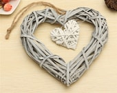 Hanging Wicker Heart, Wooden Wicker Heart, Wicker Heart for a Wedding Birthday Party, Wall Hanging Decoration