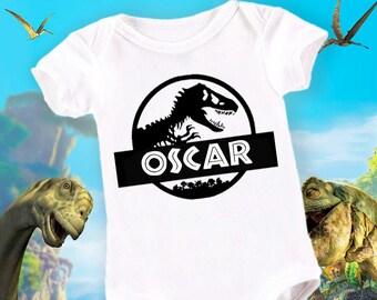 Baby Grow Personalised Dinosaur Jurassic Vest Funny Gift Shower Christening