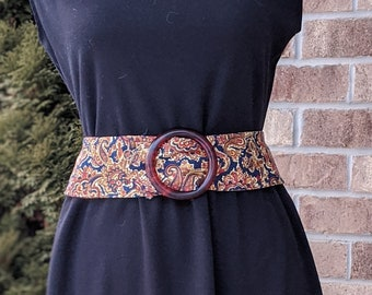 90s- Vintage Cloth Belt- Paisley Print- Oversized Buckle- Resin Buckle- Vegan Belt- Cruelty Free Belt