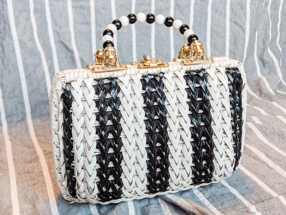Black & White Basket Handbag: Late 50's Vintage Ha