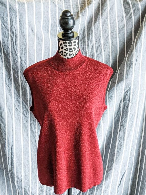 Sparkly Silk Christmas Red Sleeveless Top- Xmas- V