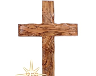 6'' Wall Cross From Bethlehem, Olive Wood Crucifix. Hanging Home Decor Cross. Godparents, Grandchildren, New House, Office, Christmas Gift