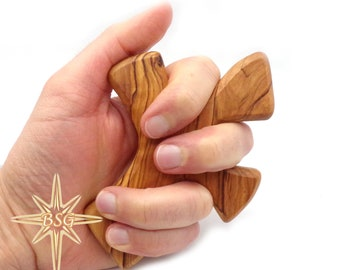 Customized Healing Olive wood large Cross, Engraving handheld prayer cross, from Bethlehem comes with/without the Prayer/Be Strong/other