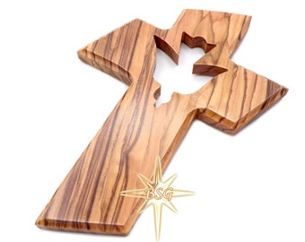Holy Spirit Cross | Wall Dove Cross | God Bless Child Olive Wood, Personalized for new born baby, baptism, birthday, parents, Christmas Gift