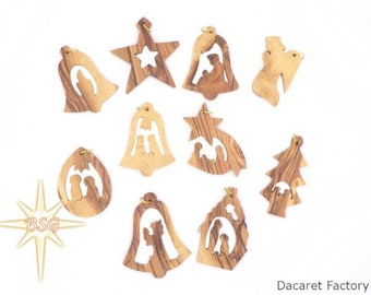 10 Christmas Ornaments Set, Christmas Tree Decorations, Holiday Gifts for Family and Friends, Merry Christmas,  Holy Family, Angel, Stars