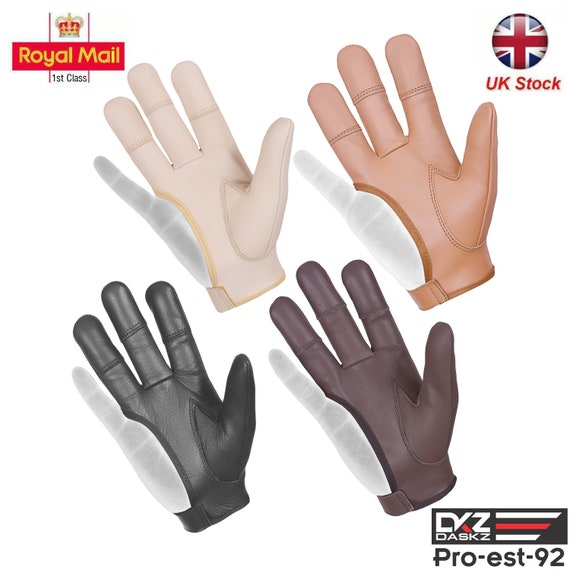 ARCHERS REAL LEATHER 3 FINGERS ARCHERY SHOOTING GLOVE BLACK /& CHOCOLATE BROWN