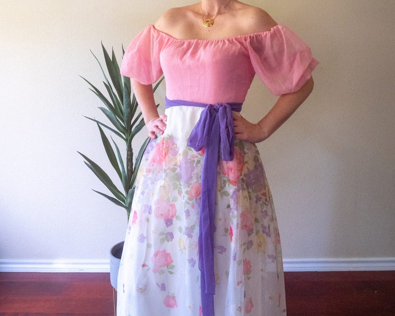 Easter Floral Pink and Purple Maxi Dress
