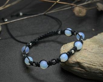 Opalite bracelet, Moonstone bracelet, Matte opalite witchy braided bracelet, Mens womens lunar magical bracelet, Witchcraft jewelry gift