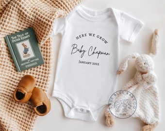 Surprise due date cute personalised baby announcement baby grow