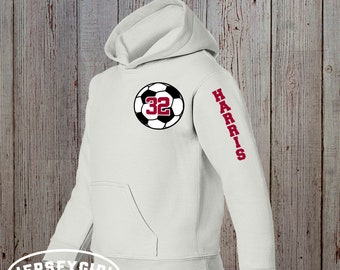 Custom Soccer Hoodie with Number & Name on Sleeve, Customized Soccer Team Pullover, Personalized Soccer Practice Warmups, Soccer Mom Hoodies