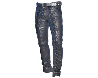 MENS LEATHER JEANS CHAPS BREECHES LUXURY PANTS TROUSERS BLUFF BIKER GOTHIC GAY