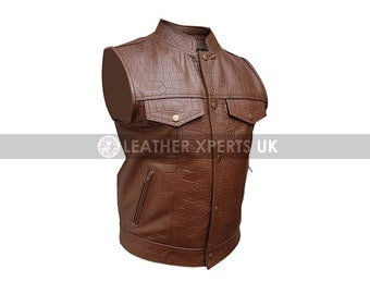 FAUX Leather Motorcycle Vest Womens PU Brown Leather Zipper Elasticated Vest Hand Made Leather Biker Vest Gift for Her