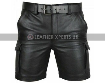 Mens Faux Leather Shorts - Hand Crafted Leather Biker Shorts Gift For Him - Leather Booty Shorts - Boxer Mens Shorts