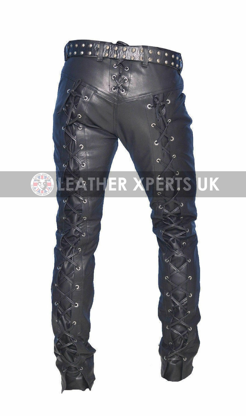 Mens PU Leather Full Laces Up Biker Pants Handmade Leather Cosplay Party Pants Gift for Him Hand Crafted Faux Leather Motorcycle Trouser
