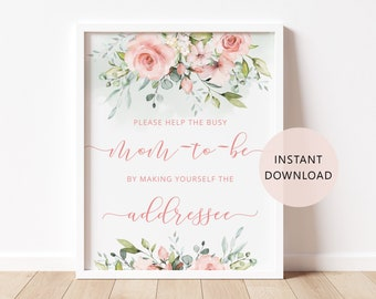 Help the busy Mom to Be Baby Shower Sign Printable Instant Download WLP-SOU 1456 Make Yourself the Addressee Sign