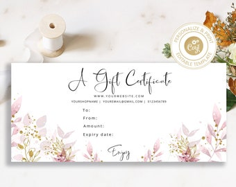 Editable Gift Card Online Business Gift Certificate Blue Gift Certificate Etsy Shop Paper Shop Premade Teal and Gold Gift Certificate
