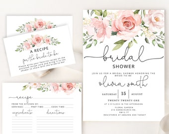 Greenery Spring Floral Kitchen Shower Invite Garden Bridal Shower Invitation with Insert Card and Recipe Card Recipes for the Bride to Be