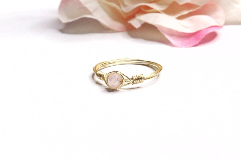 Pink Stones Wire Wrapped Rings Pink Jewelry Wire Wrapped Jewelry Glass Rings Baby Pink Stone Rings Handmade Wire Wrapped Ring