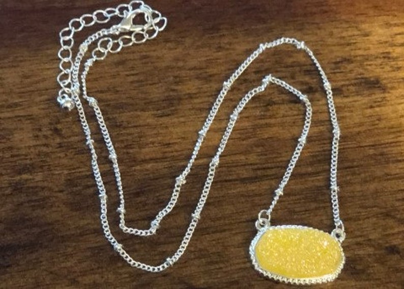 Glitter Stone Pendant NecklaceJewelry for GirlsGifts for GirlsSilver ChainGirls Accessories