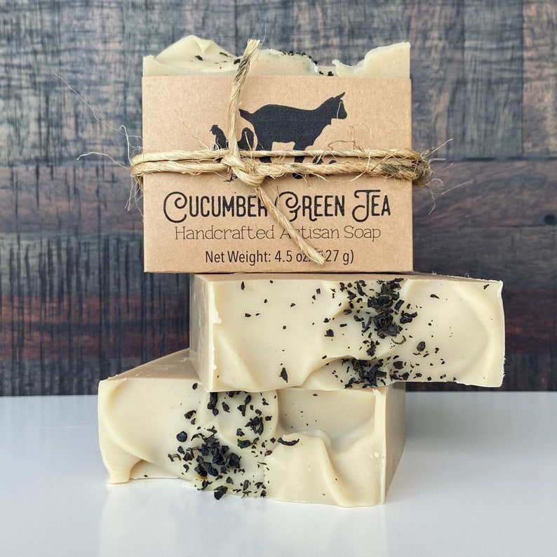 Cucumber Green Tea Goat Milk Soap Feminine Scented Bar Soap image 0