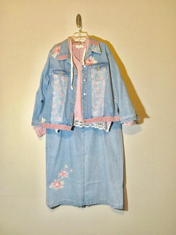 Vintage Jean Jacket Matching Set Denim Skirt Plus
