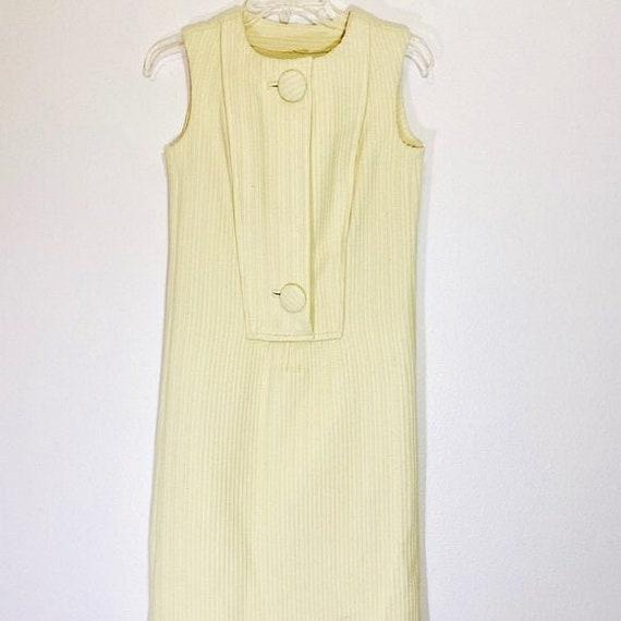 Vintage Sheath Dress 70's Shift Minimalist Button
