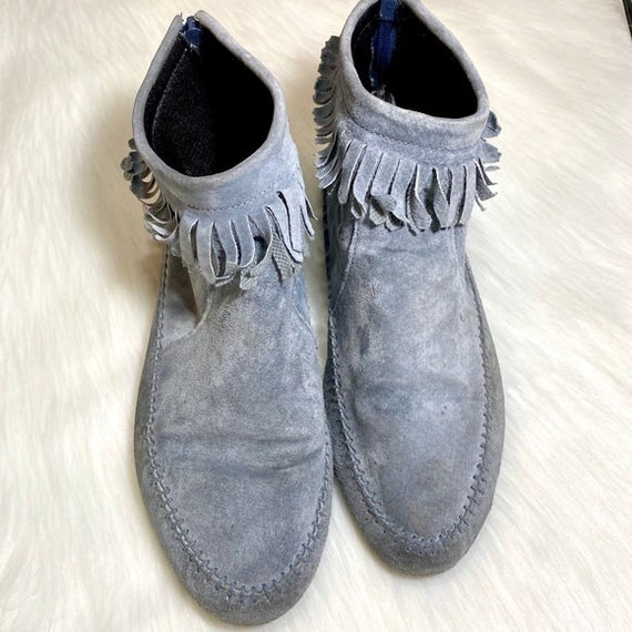 Vintage Leather Booties Ankle Moccasins Fringe