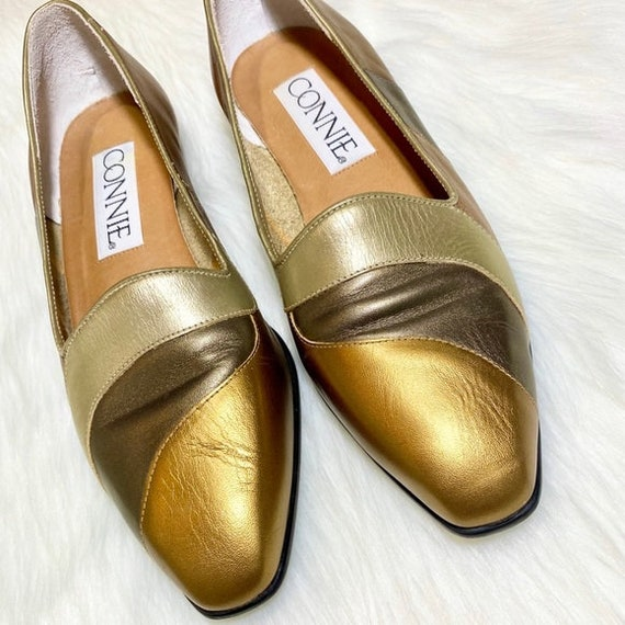 Vintage Metallic Flats Leather Loafers Striped