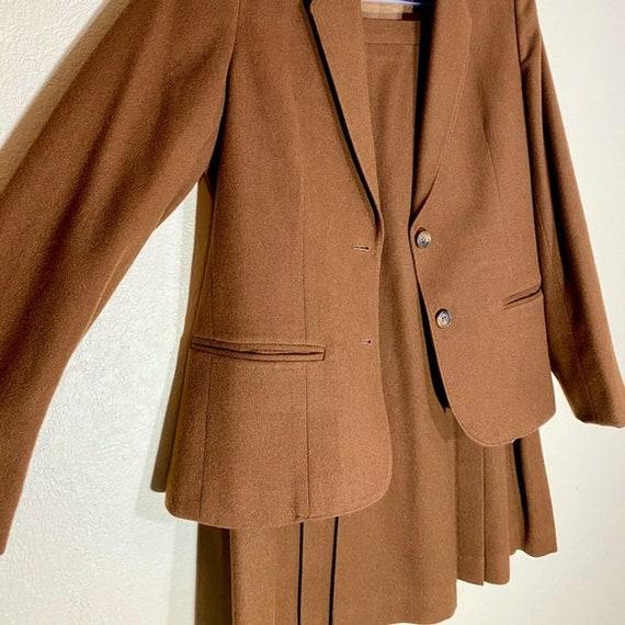 Wool Blazer Skirt Set Pleated Midi Matching Suit - image 4