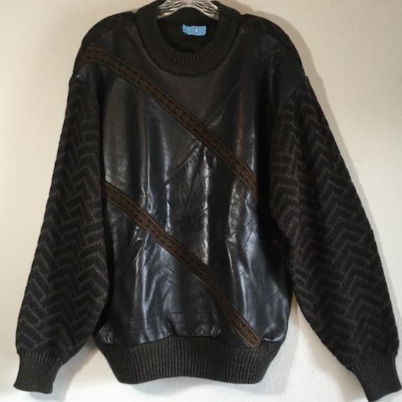 Vintage 80s Leather Men's Pullover Knit Striped