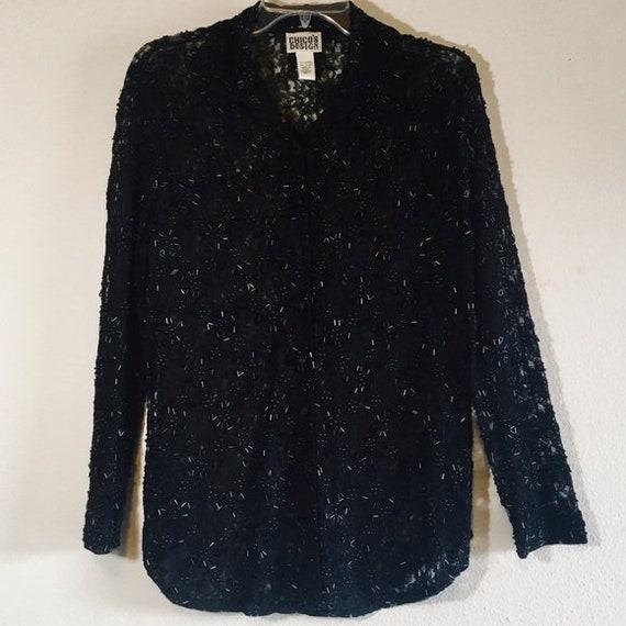 Vintage Black Embellished Lace Blouse Top Beaded