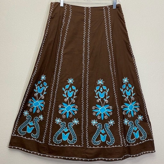 Vintage Western Skirt Embroidered Circle A-line