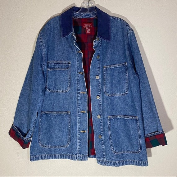 Vintage Jean Jacket Plaid Flannel Patch Pockets