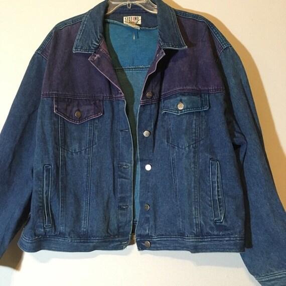 Vintage 80s Patchwork Jacket Jean Denim Colorblock