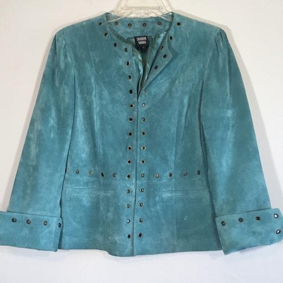 Vintage Leather Jacket Suede Blazer Boho Teal