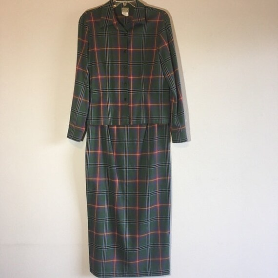 Vintage Matching Set Plaid Midi Pencil Skirt Butto
