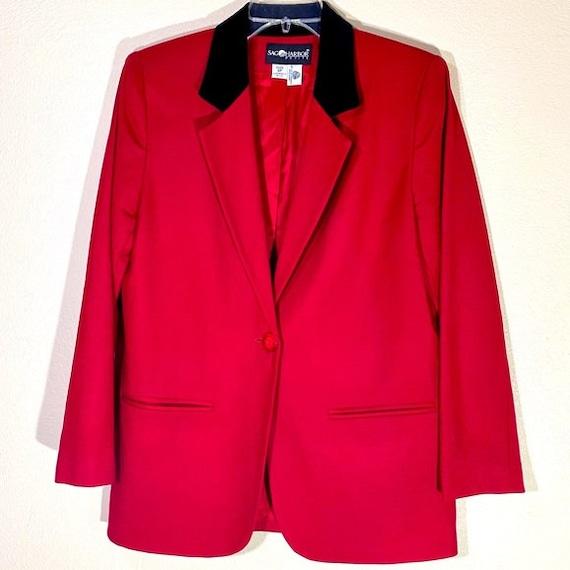 Vintage Wool Blazer Jacket Velvet Blazer Red Coat