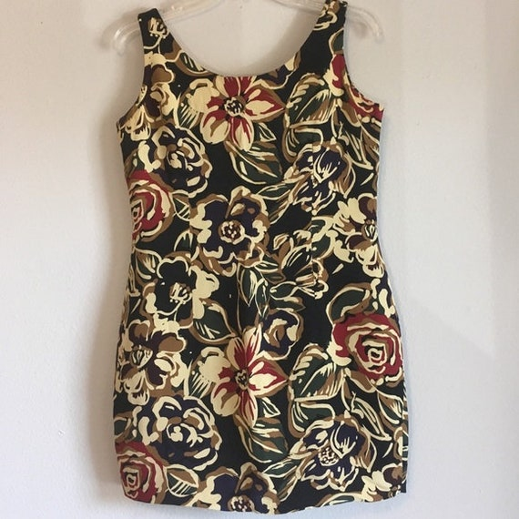 Vintage 80s Tank Floral Dress Sheath Sleeveless An