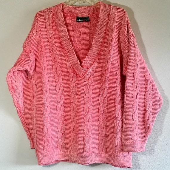 Vintage 80's Hunt Club Sweater Oversized Pink