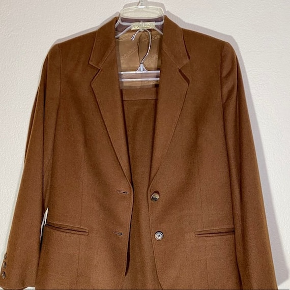 Wool Blazer Skirt Set Pleated Midi Matching Suit - image 3