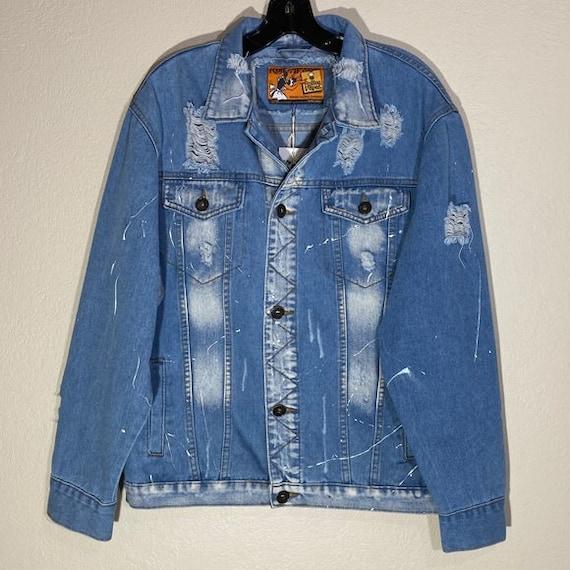 Distressed Jean Jacket Streetwear Paint Fringe