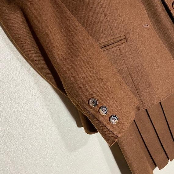 Wool Blazer Skirt Set Pleated Midi Matching Suit - image 5