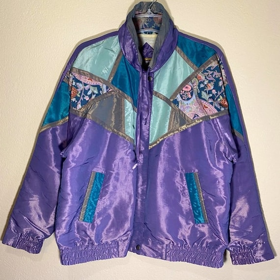 Vintage Track Jacket Windbreaker Metallic Shimmer