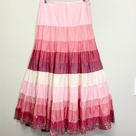 Vintage Tiered Skirt Maxi Boho Peasant Skirt Hippi