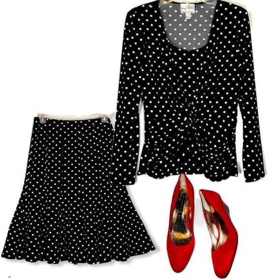 Vintage Polkadot Matching Set Blouse Midi Skirt